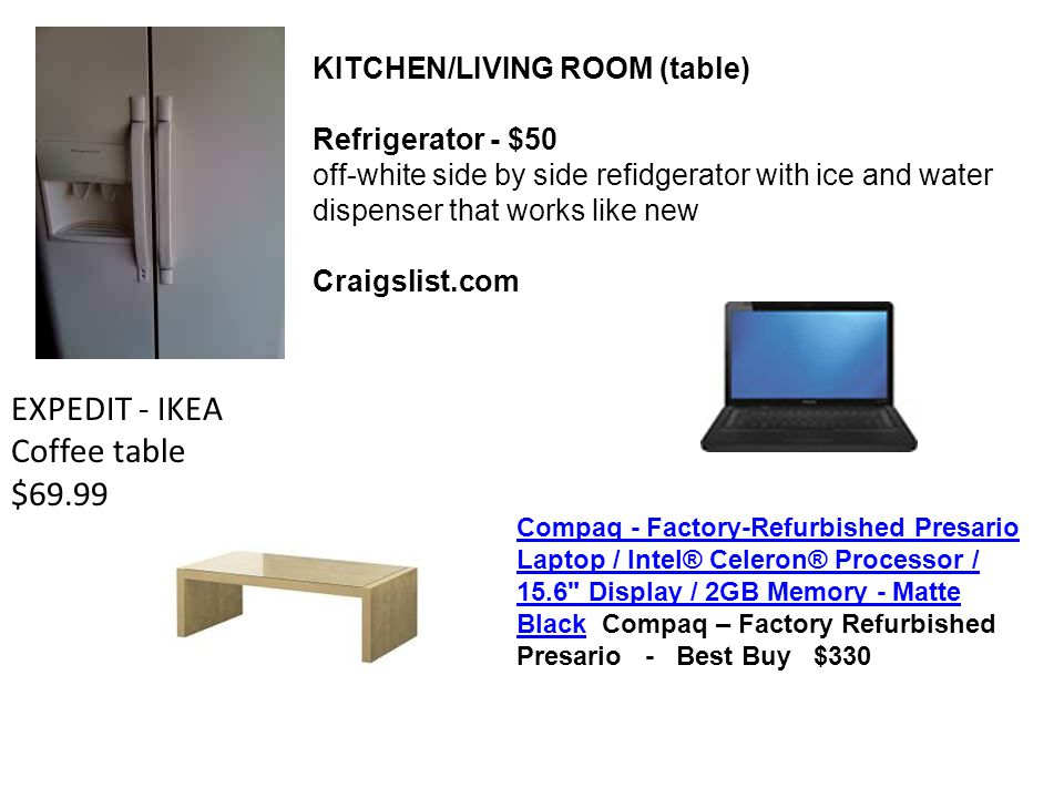 KITCHEN/LIVING ROOM (table) Refrigerator - $50 off-white side by side refidgerator with ice and water dispenser that works like new Craigslist.com EXP