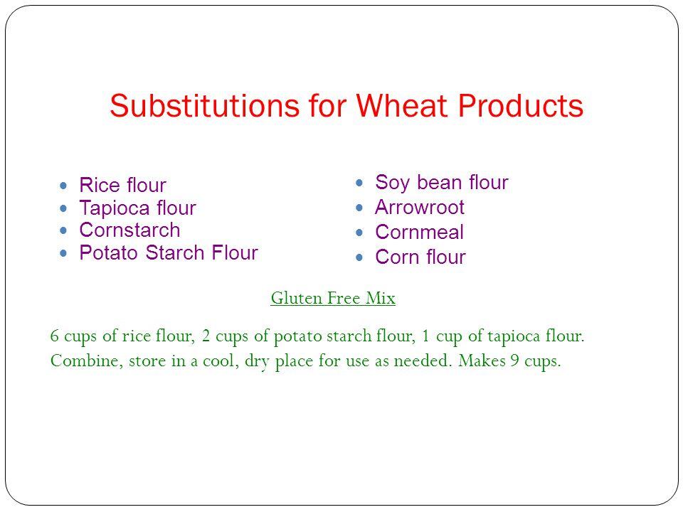 Substitutions for Wheat Products Rice flour Tapioca flour Cornstarch Potato Starch Flour Soy bean flour Arrowroot Cornmeal Corn flour Gluten Free Mix 6 cups of rice flour, 2 cups of potato starch flour, 1 cup of tapioca flour.
