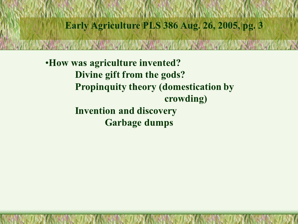 How was agriculture invented. Divine gift from the gods.
