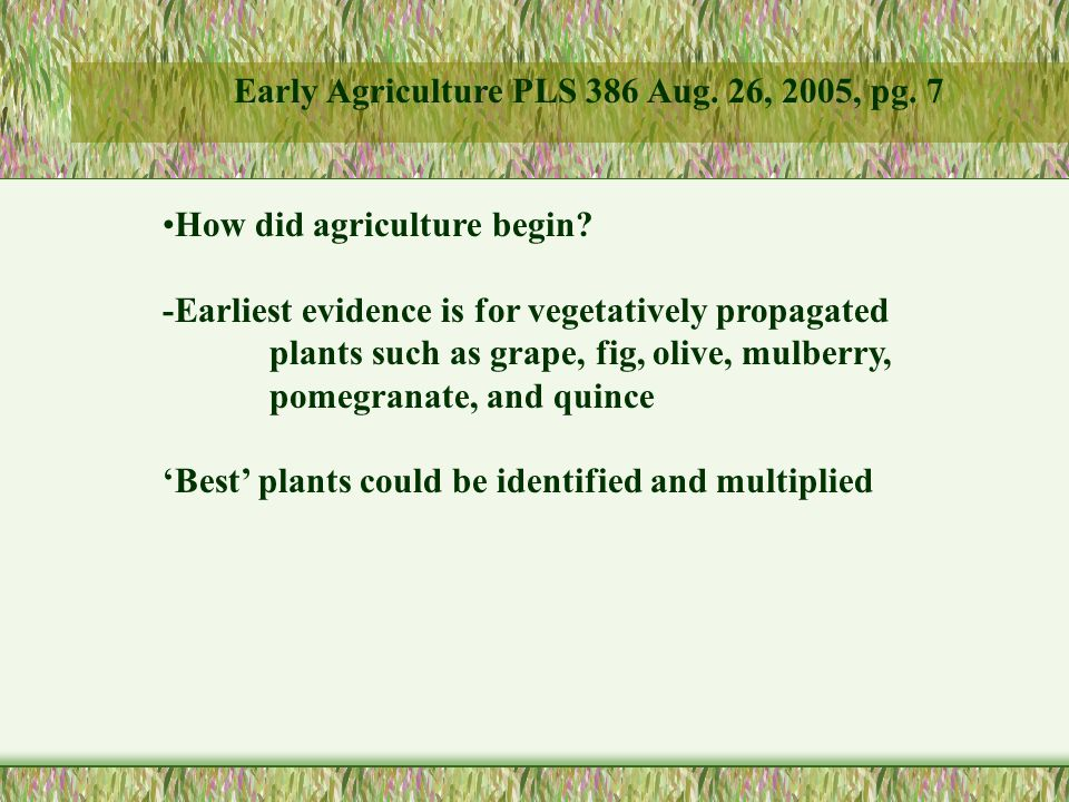 How did agriculture begin.