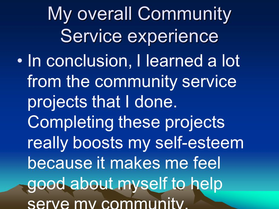 My overall Community Service experience In conclusion, I learned a lot from the community service projects that I done.