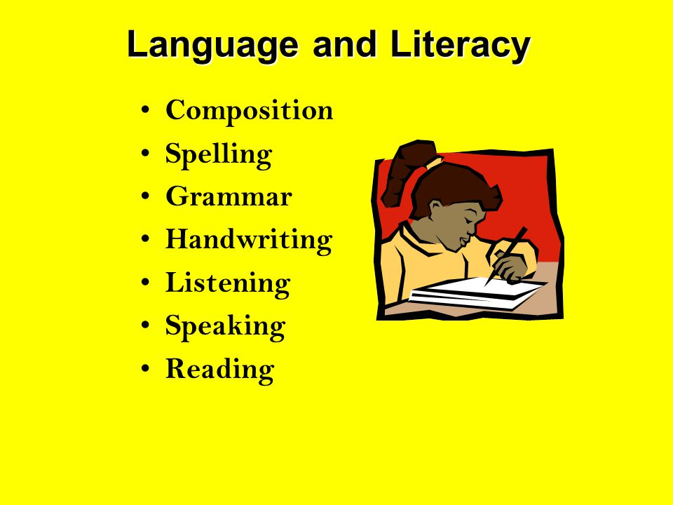 Language and Literacy Composition Spelling Grammar Handwriting Listening Speaking Reading