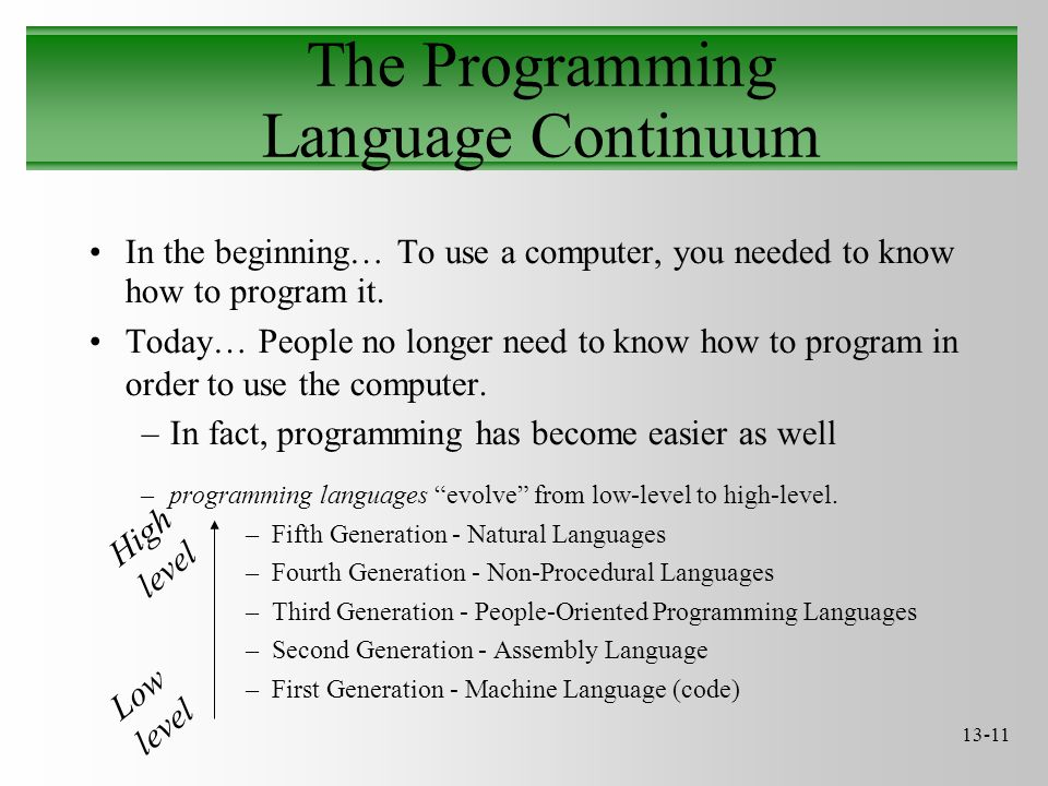 13-11 The Programming Language Continuum In the beginning… To use a computer, you needed to know how to program it. Today… People no longer need to kn