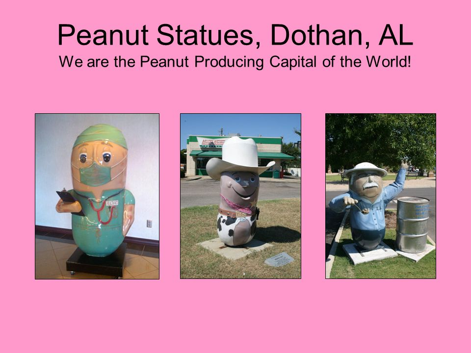 Peanut Statues, Dothan, AL We are the Peanut Producing Capital of the World!