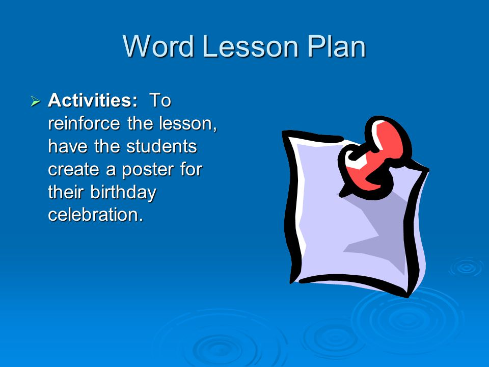 Word Lesson Plan  Procedure Cont: Explain the different things you can do with the Word program, for instance how to save work, create different fonts, create new documents, and copy/paste Explain the different things you can do with the Word program, for instance how to save work, create different fonts, create new documents, and copy/paste Show the students how to type documents and format them to create what they want.