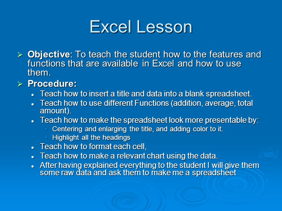 MS Excel Lesson and Sample Presented By Stephen Lelo