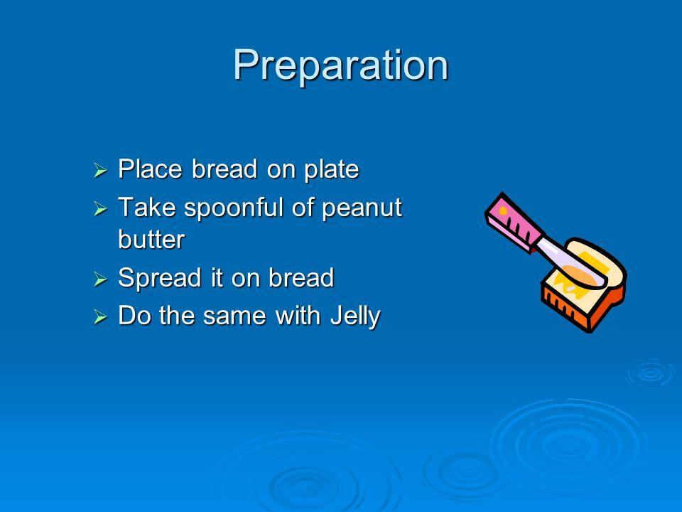 Ingredients  Peanut butter  Jelly  Bread  Plate spoon spoon