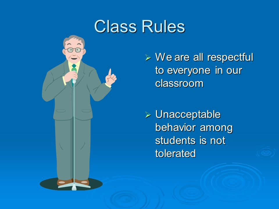 Class Rules  During class time computers are for class work  Please take care of the computers and equipment