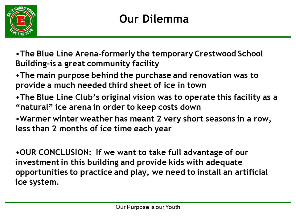 Our Purpose is our Youth Our Dilemma The Blue Line Arena-formerly the temporary Crestwood School Building-is a great community facility The main purpose behind the purchase and renovation was to provide a much needed third sheet of ice in town The Blue Line Club's original vision was to operate this facility as a natural ice arena in order to keep costs down Warmer winter weather has meant 2 very short seasons in a row, less than 2 months of ice time each year OUR CONCLUSION: If we want to take full advantage of our investment in this building and provide kids with adequate opportunities to practice and play, we need to install an artificial ice system.