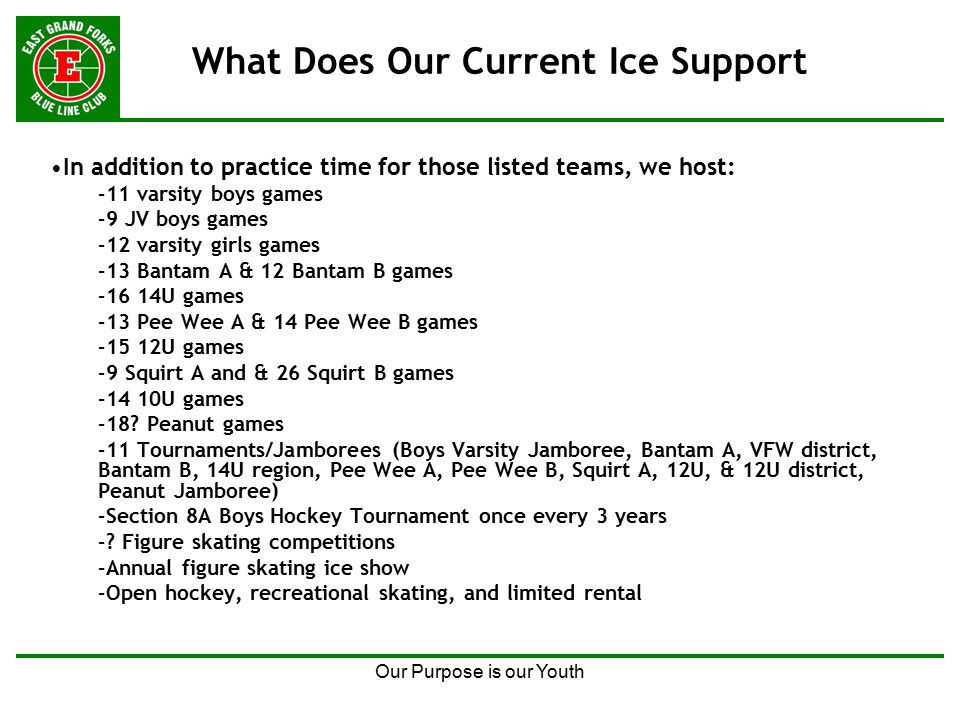 Our Purpose is our Youth What Does Our Current Ice Support In addition to practice time for those listed teams, we host: –11 varsity boys games –9 JV boys games –12 varsity girls games –13 Bantam A & 12 Bantam B games –16 14U games –13 Pee Wee A & 14 Pee Wee B games –15 12U games –9 Squirt A and & 26 Squirt B games –14 10U games –18.