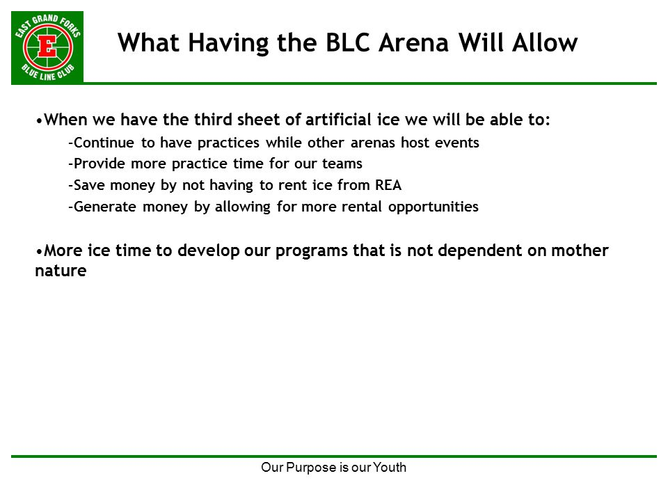 Our Purpose is our Youth What Having the BLC Arena Will Allow When we have the third sheet of artificial ice we will be able to: –Continue to have practices while other arenas host events –Provide more practice time for our teams –Save money by not having to rent ice from REA –Generate money by allowing for more rental opportunities More ice time to develop our programs that is not dependent on mother nature