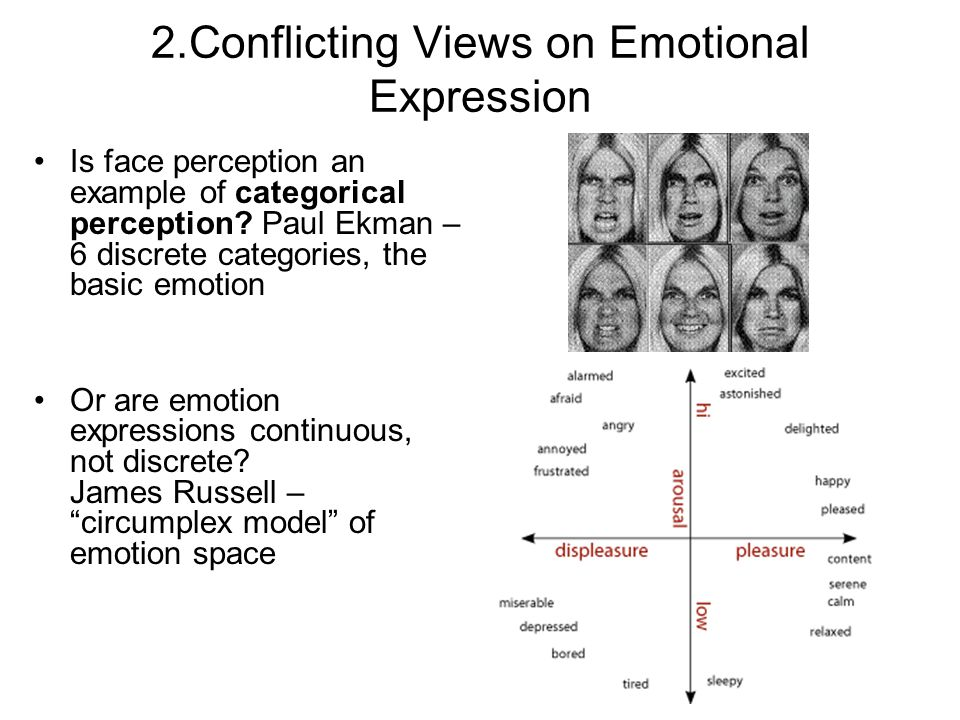 2.Conflicting Views on Emotional Expression Is face perception an example of categorical perception.