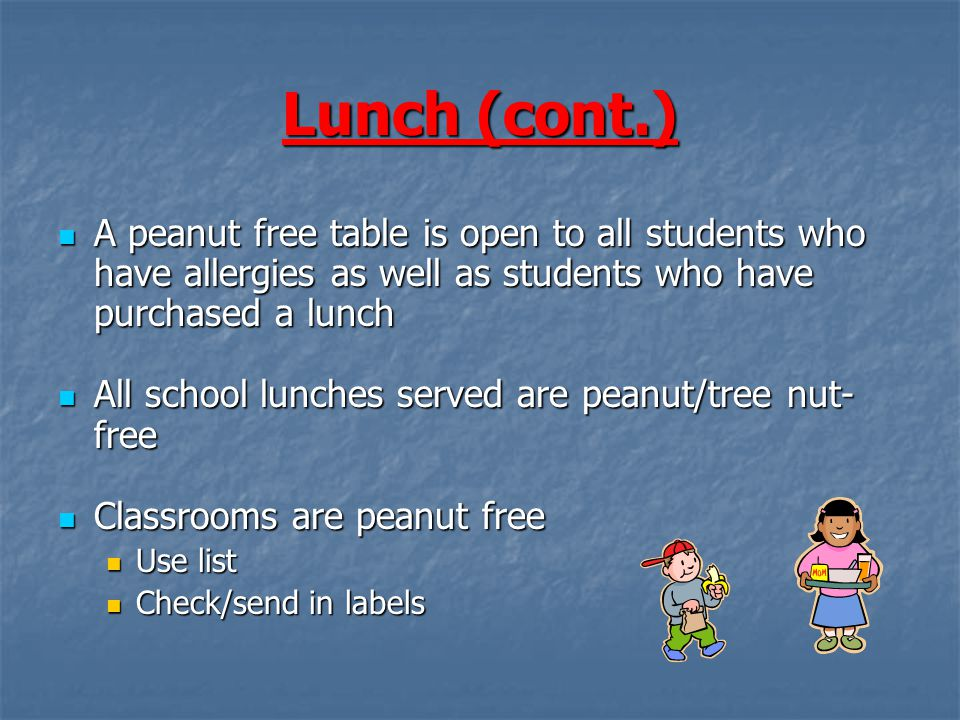 Lunch (cont.) A peanut free table is open to all students who have allergies as well as students who have purchased a lunch A peanut free table is open to all students who have allergies as well as students who have purchased a lunch All school lunches served are peanut/tree nut- free All school lunches served are peanut/tree nut- free Classrooms are peanut free Classrooms are peanut free Use list Use list Check/send in labels Check/send in labels