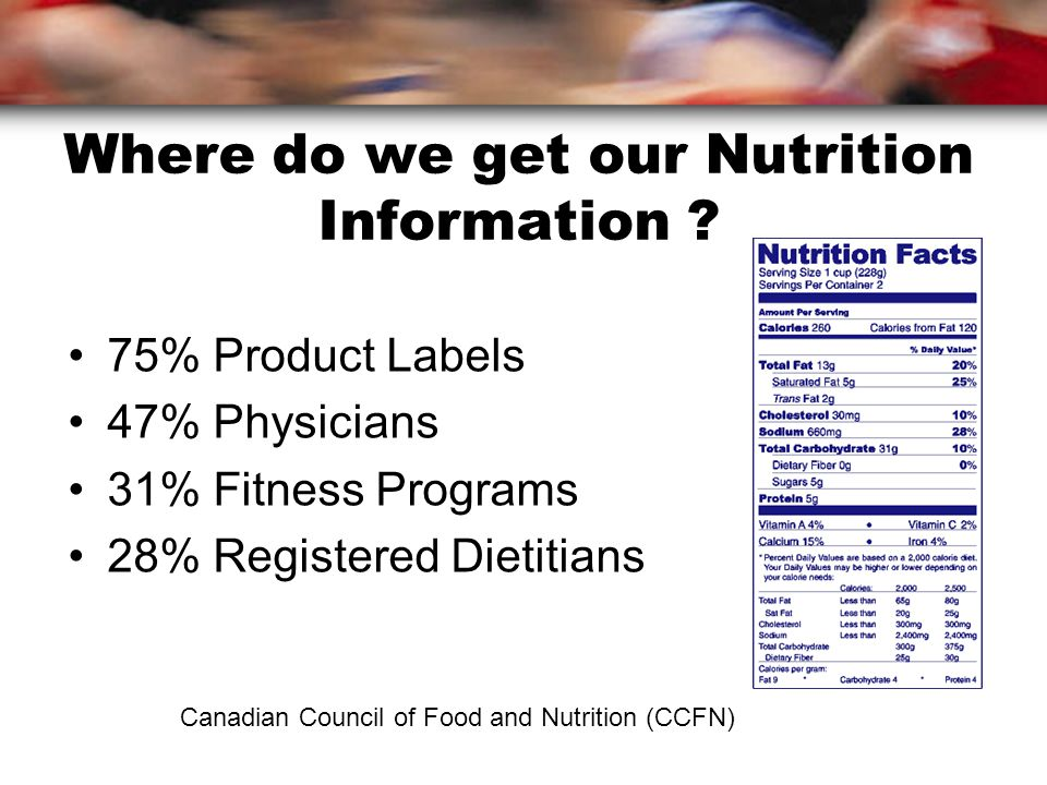 Where do we get our Nutrition Information .