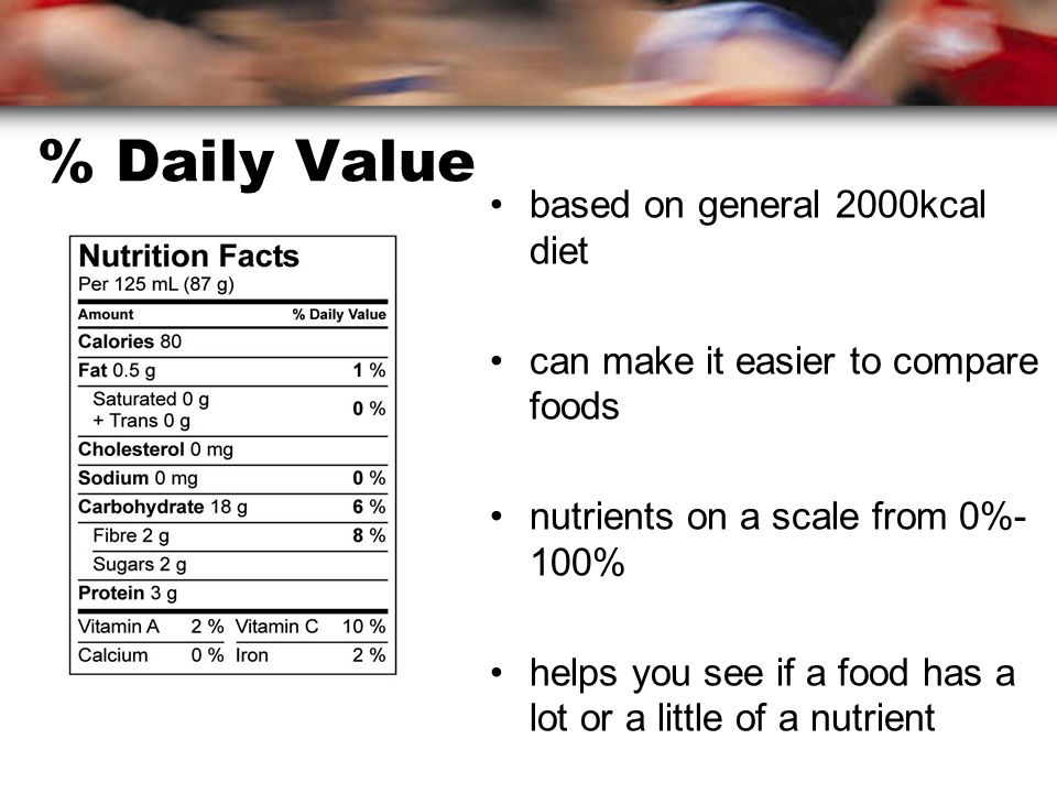% Daily Value based on general 2000kcal diet can make it easier to compare foods nutrients on a scale from 0%- 100% helps you see if a food has a lot or a little of a nutrient