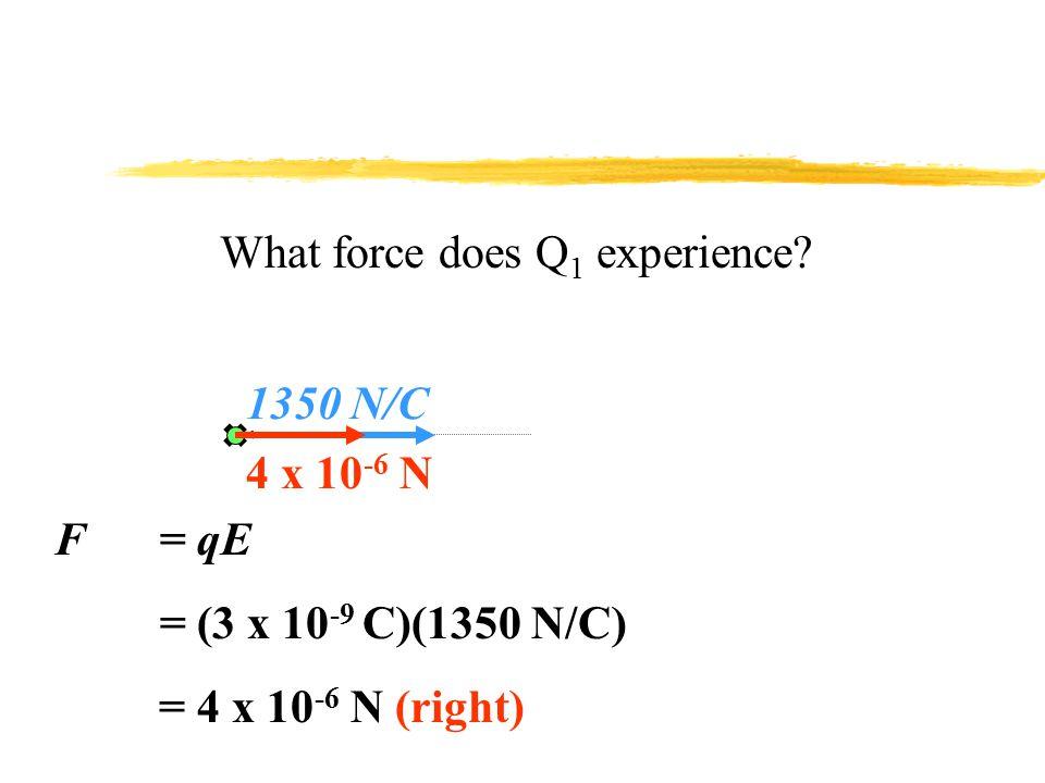 Q2Q2 E = kq s /r 2 = (9 x 10 9 )(6 x 10 -9 ) /(0.20) 2 = 1350 N/C 1350 N/C -6 x 10 -9 C