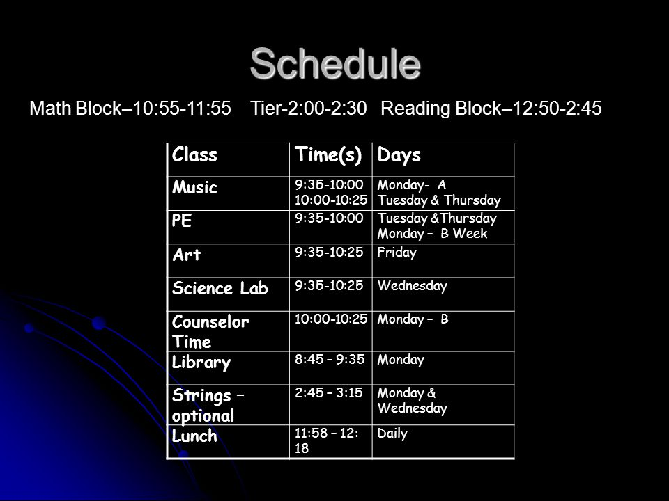 Schedule Math Block–10:55-11:55 Tier-2:00-2:30 Reading Block–12:50-2:45 ClassTime(s)Days Music 9:35-10:00 10:00-10:25 Monday- A Tuesday & Thursday PE 9:35-10:00Tuesday &Thursday Monday – B Week Art 9:35-10:25Friday Science Lab 9:35-10:25Wednesday Counselor Time 10:00-10:25Monday – B Library 8:45 – 9:35Monday Strings – optional 2:45 – 3:15Monday & Wednesday Lunch 11:58 – 12: 18 Daily