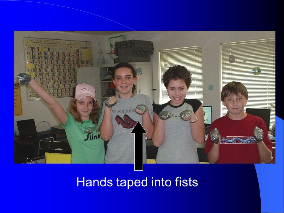 Hands taped into fists