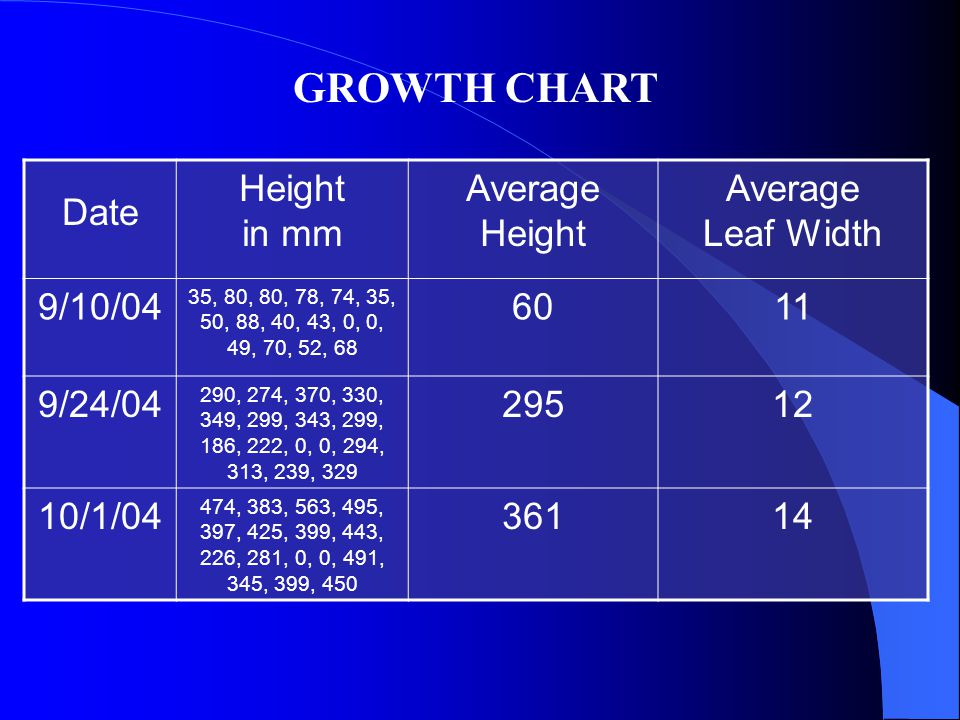 Date Height in mm Average Height Average Leaf Width 9/10/04 35, 80, 80, 78, 74, 35, 50, 88, 40, 43, 0, 0, 49, 70, 52, 68 6011 9/24/04 290, 274, 370, 330, 349, 299, 343, 299, 186, 222, 0, 0, 294, 313, 239, 329 29512 10/1/04 474, 383, 563, 495, 397, 425, 399, 443, 226, 281, 0, 0, 491, 345, 399, 450 36114 GROWTH CHART