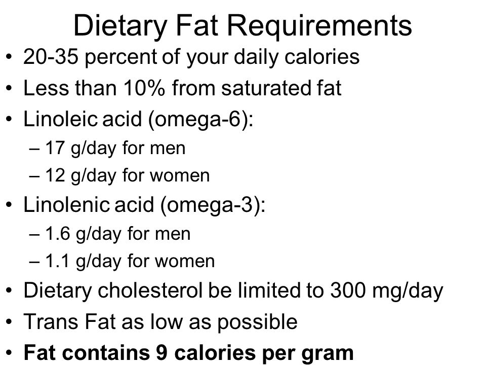 Dietary Fat Requirements 20-35 percent of your daily calories Less than 10% from saturated fat Linoleic acid (omega-6): –17 g/day for men –12 g/day for women Linolenic acid (omega-3): –1.6 g/day for men –1.1 g/day for women Dietary cholesterol be limited to 300 mg/day Trans Fat as low as possible Fat contains 9 calories per gram