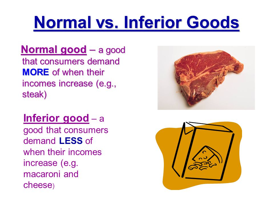 Normal vs. Inferior Goods Normal good – a good that consumers demand MORE of when their incomes increase (e.g., steak) Normal good – a good that consu