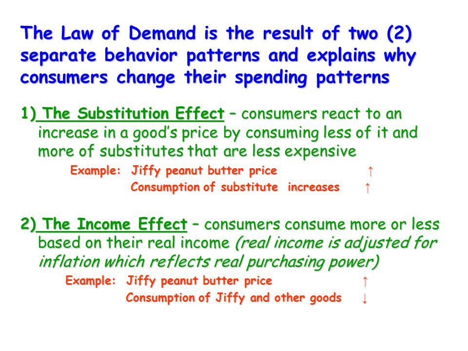 The Law of Demand is the result of two (2) separate behavior patterns and explains why consumers change their spending patterns 1) The Substitution Effect – consumers react to an increase in a good's price by consuming less of it and more of substitutes that are less expensive Example: Jiffy peanut butter price ↑ Example: Jiffy peanut butter price ↑ Consumption of substitute increases ↑ Consumption of substitute increases ↑ 2) The Income Effect – consumers consume more or less based on their real income (real income is adjusted for inflation which reflects real purchasing power) Example: Jiffy peanut butter price ↑ Example: Jiffy peanut butter price ↑ Consumption of Jiffy and other goods ↓ Consumption of Jiffy and other goods ↓