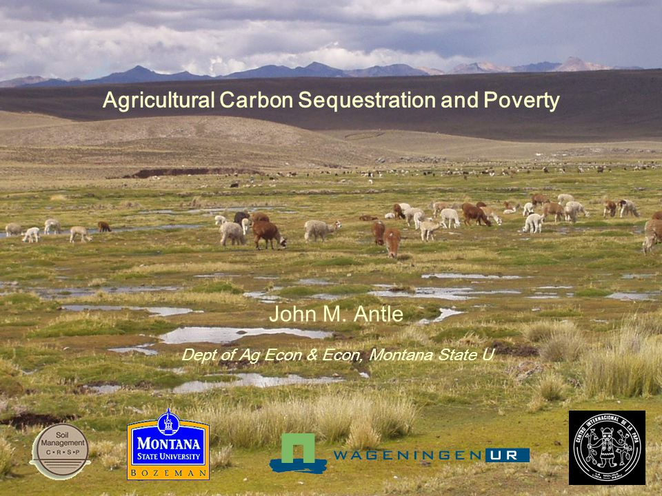 Agricultural Carbon Sequestration and Poverty John M. Antle Dept of Ag Econ & Econ, Montana State U