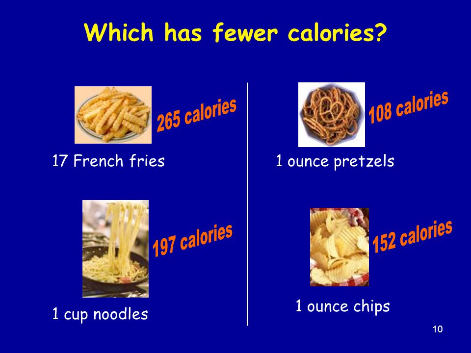 10 Which has fewer calories 17 French fries 1 cup noodles 1 ounce chips 1 ounce pretzels