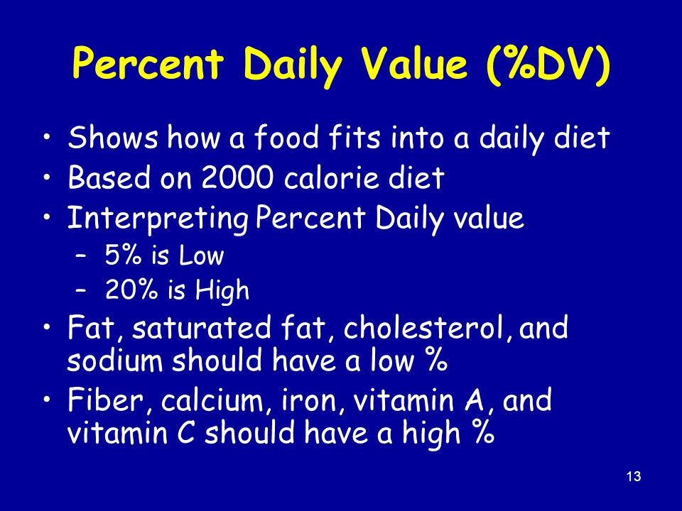 13 Percent Daily Value (%DV) Shows how a food fits into a daily diet Based on 2000 calorie diet Interpreting Percent Daily value – 5% is Low – 20% is High Fat, saturated fat, cholesterol, and sodium should have a low % Fiber, calcium, iron, vitamin A, and vitamin C should have a high %