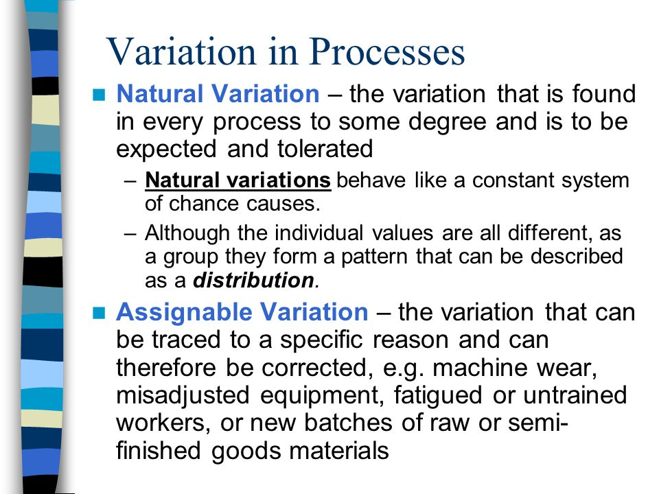 Variation in Processes Natural Variation – the variation that is found in every process to some degree and is to be expected and tolerated –Natural variations behave like a constant system of chance causes.