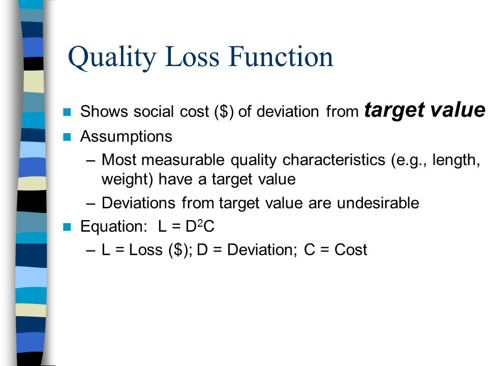 Shows social cost ($) of deviation from target value Assumptions –Most measurable quality characteristics (e.g., length, weight) have a target value –Deviations from target value are undesirable Equation: L = D 2 C –L = Loss ($); D = Deviation; C = Cost Quality Loss Function