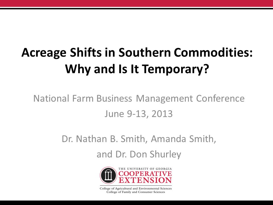 Acreage Shifts in Southern Commodities: Why and Is It Temporary.