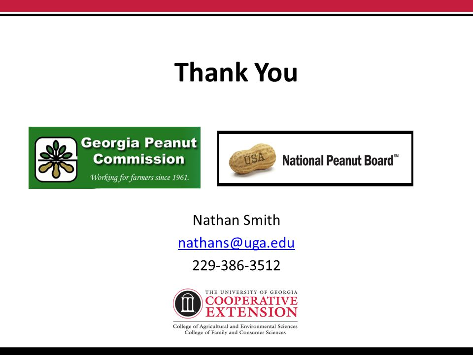 Thank You Nathan Smith nathans@uga.edu 229-386-3512