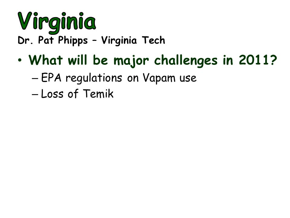 What will be major challenges in 2011? – EPA regulations on Vapam use – Loss of Temik