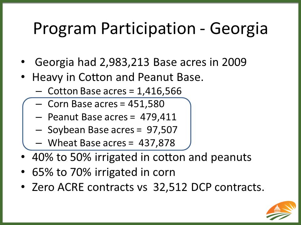 Program Participation - Georgia Georgia had 2,983,213 Base acres in 2009 Heavy in Cotton and Peanut Base. – Cotton Base acres = 1,416,566 – Corn Base