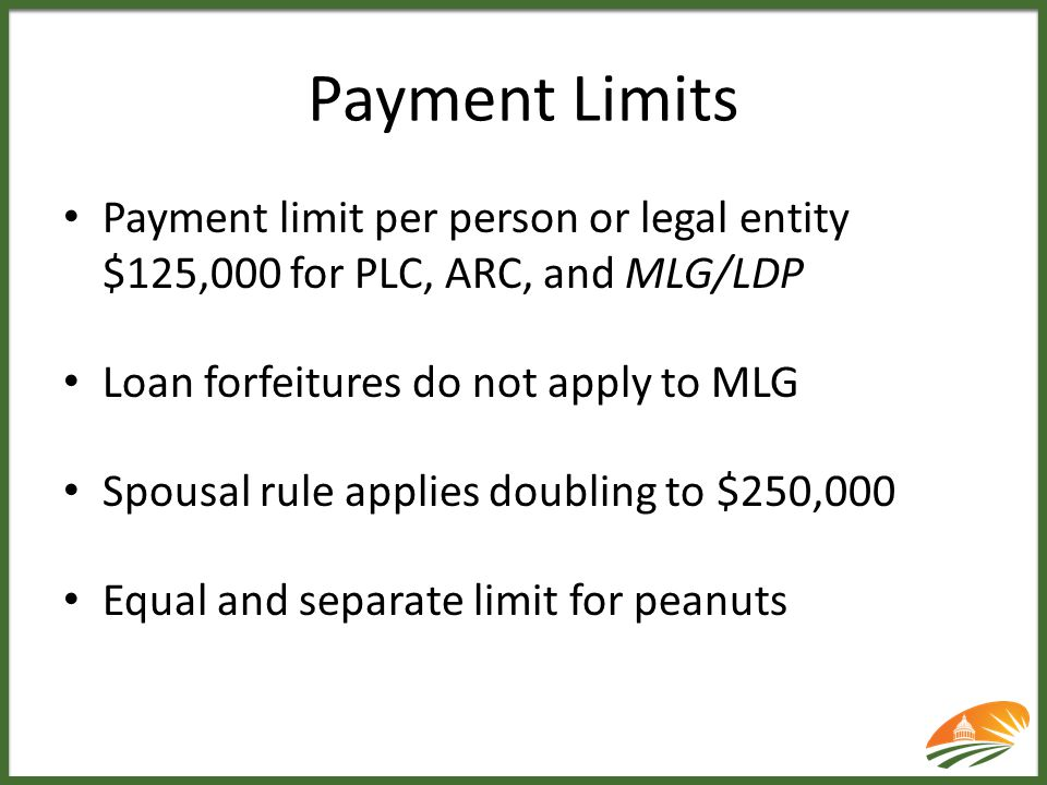Payment Limits Payment limit per person or legal entity $125,000 for PLC, ARC, and MLG/LDP Loan forfeitures do not apply to MLG Spousal rule applies d
