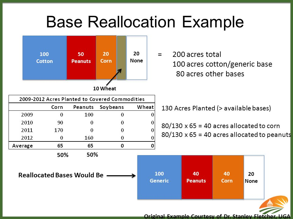 Base Reallocation Example 100 Cotton 50 Peanuts 20 Corn 20 None 10 Wheat =200 acres total 100 acres cotton/generic base 80 acres other bases 130 Acres
