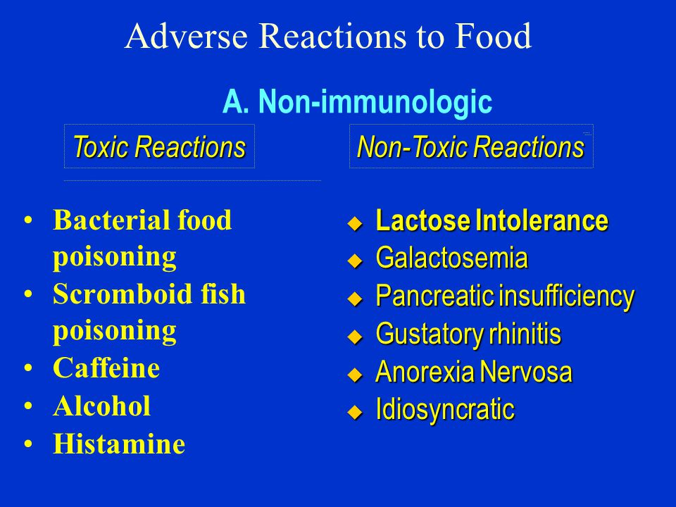 Adverse Reactions to Food Bacterial food poisoning Scromboid fish poisoning Caffeine Alcohol Histamine A.