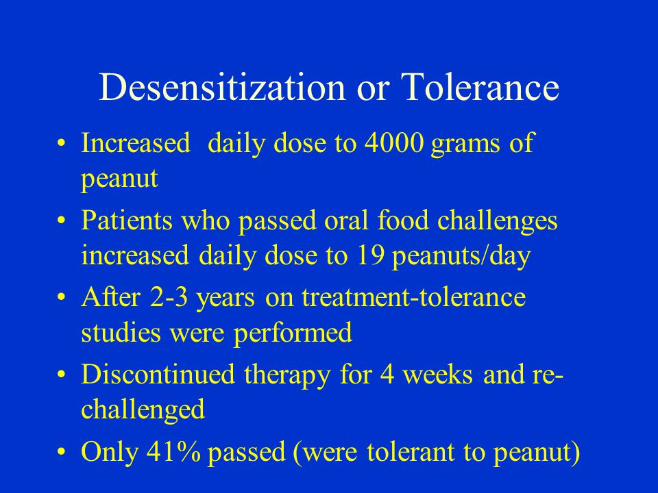 Desensitization or Tolerance Increased daily dose to 4000 grams of peanut Patients who passed oral food challenges increased daily dose to 19 peanuts/day After 2-3 years on treatment-tolerance studies were performed Discontinued therapy for 4 weeks and re- challenged Only 41% passed (were tolerant to peanut)