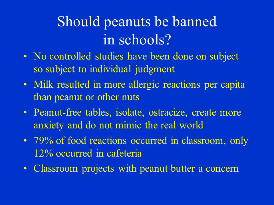 Should peanuts be banned in schools.
