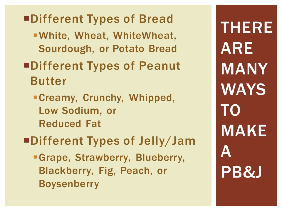  Different Types of Bread  White, Wheat, WhiteWheat, Sourdough, or Potato Bread  Different Types of Peanut Butter  Creamy, Crunchy, Whipped, Low S