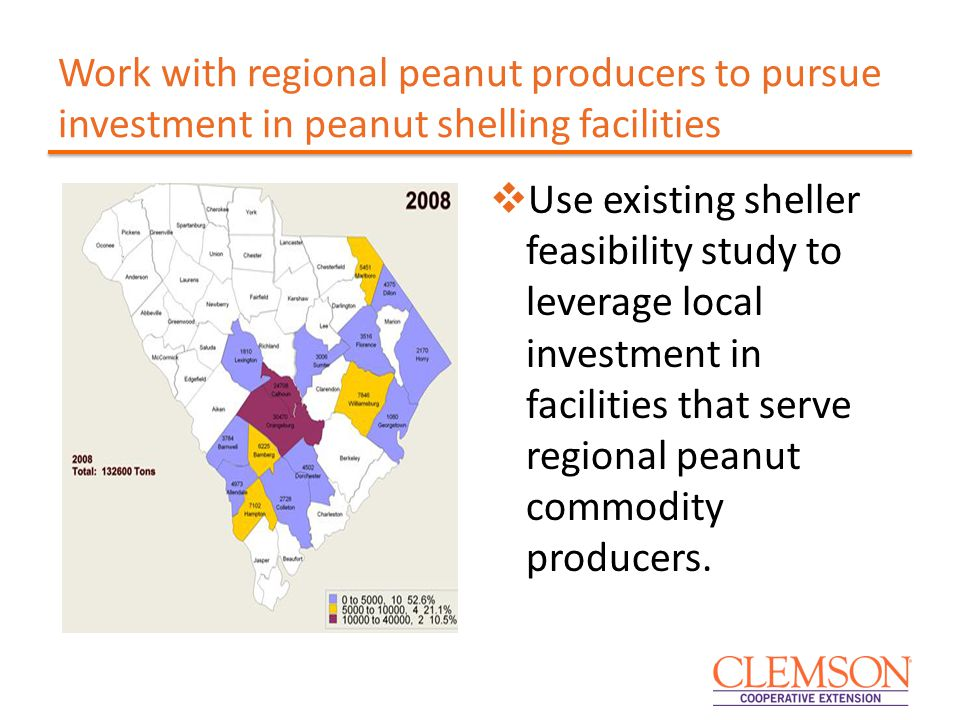 Work with regional peanut producers to pursue investment in peanut shelling facilities  Use existing sheller feasibility study to leverage local investment in facilities that serve regional peanut commodity producers.