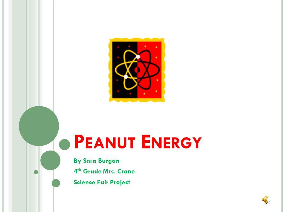 P EANUT E NERGY By Sara Burgan 4 th Grade Mrs. Crane Science Fair Project