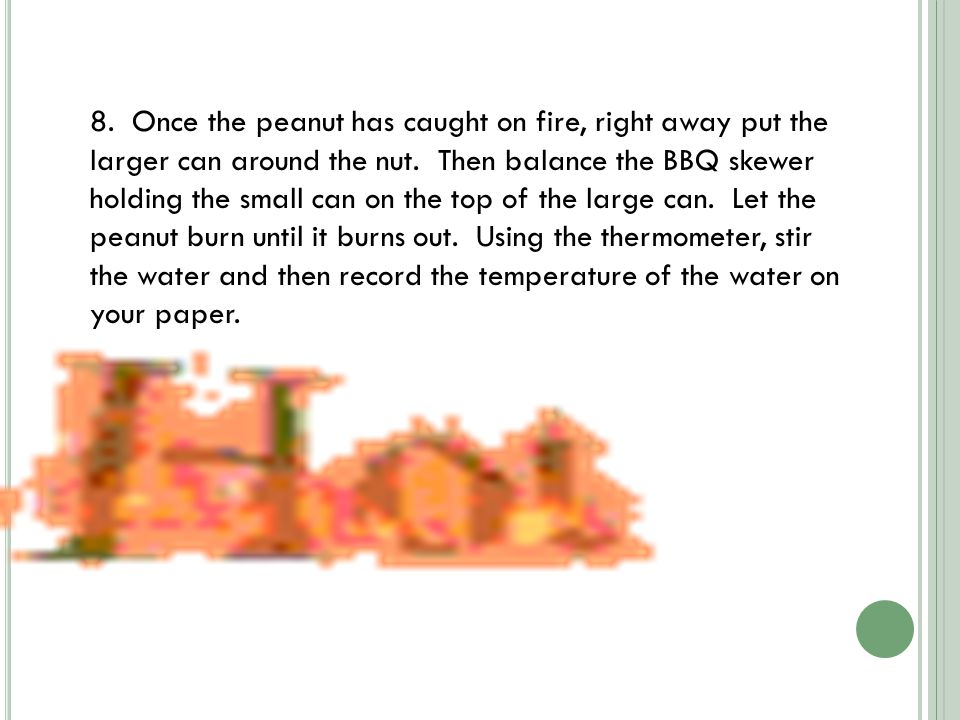 8. Once the peanut has caught on fire, right away put the larger can around the nut.