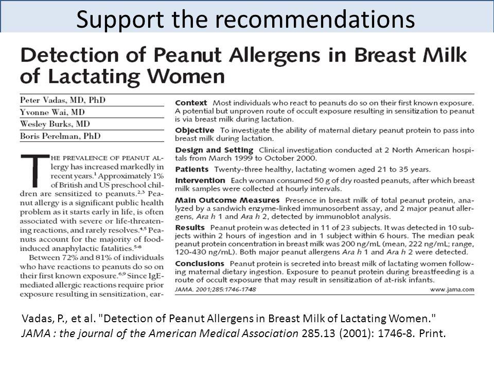 Support the recommendations Vadas, P., et al.