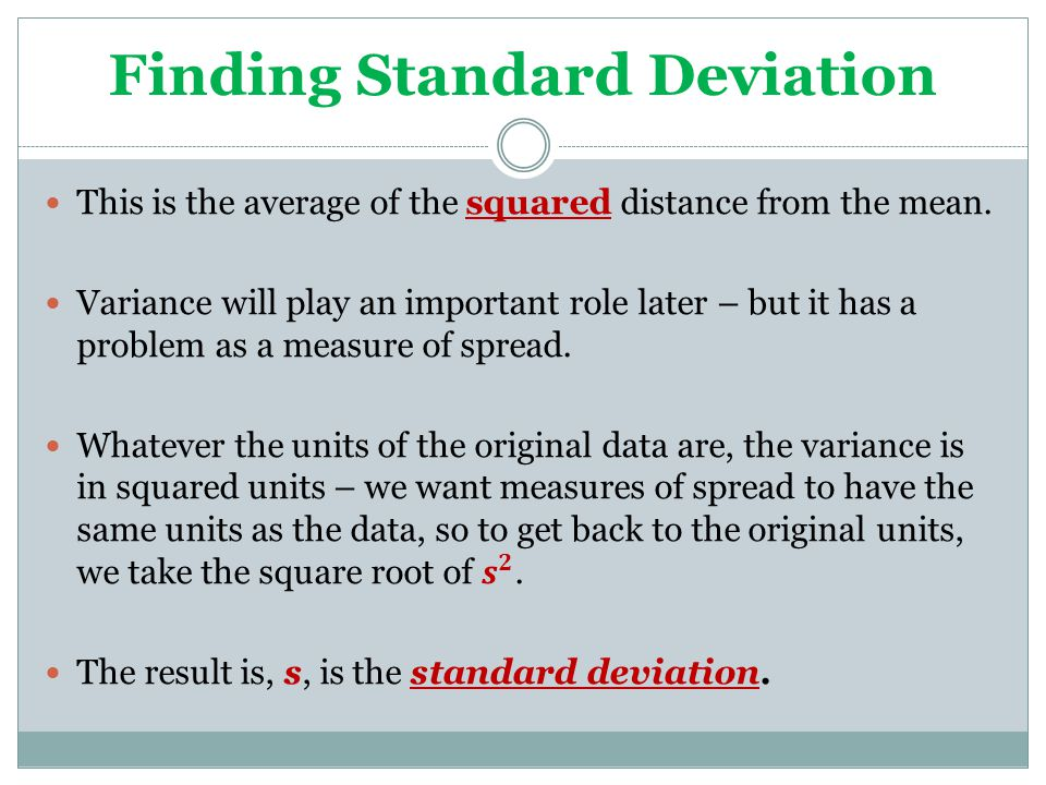 Finding Standard Deviation