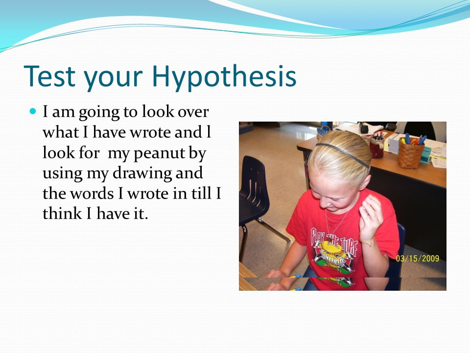 Test your Hypothesis I am going to look over what I have wrote and l look for my peanut by using my drawing and the words I wrote in till I think I have it.