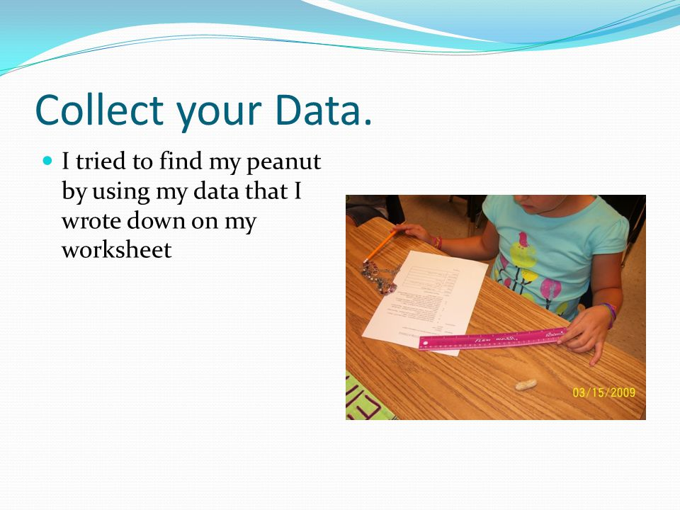 Collect your Data. I tried to find my peanut by using my data that I wrote down on my worksheet