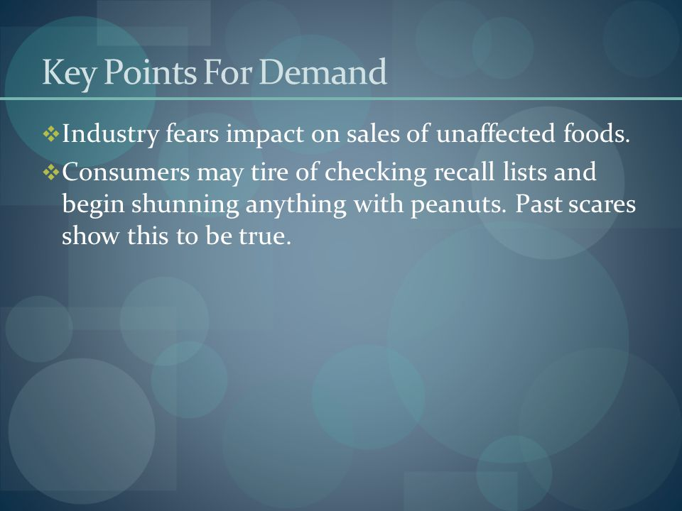 Key Points For Demand  Industry fears impact on sales of unaffected foods.