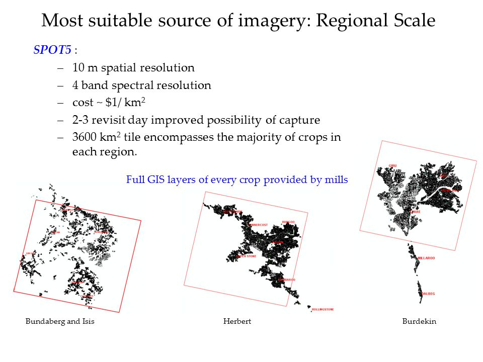 Most suitable source of imagery: Regional Scale SPOT5 : –10 m spatial resolution –4 band spectral resolution –cost ~ $1/ km 2 –2-3 revisit day improve